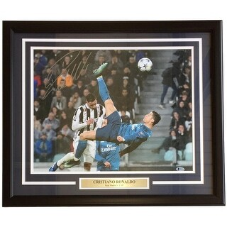 Cristiano Ronaldo Signed Framed 16x20 Real Madrid vs Juve Bicycle Kick Photo BAS