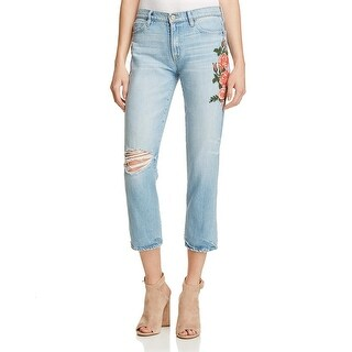 Sanctuary Womens Boyfriend Jeans Embroidered Distressed