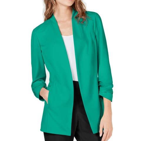 Alfani Womens Jacket Green Size Medium M Open Front Ruched Sleeve