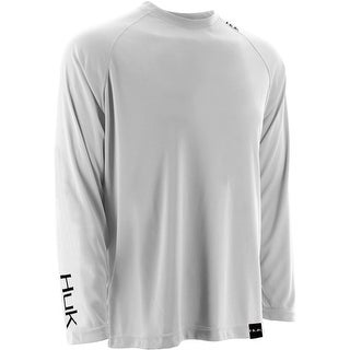 Huk Men's LoPro Raglan White Medium Performance Long Sleeve Shirt