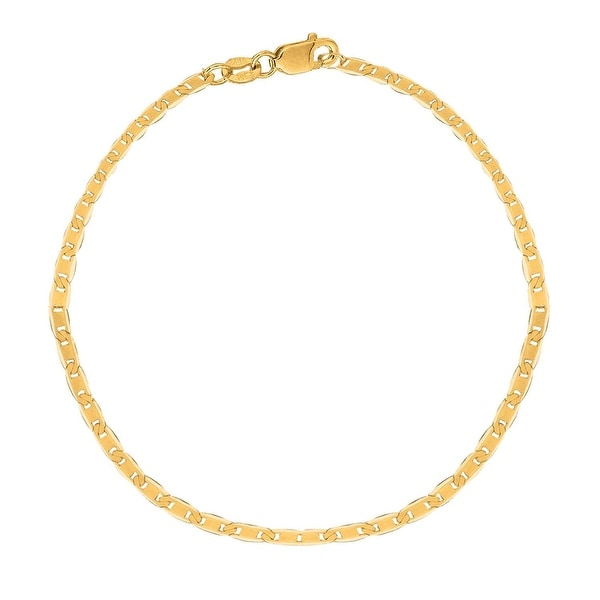 MCS Jewelry Inc 10 KARAT YELLOW GOLD SOLID MARINER ANKLET BRACELET (10 INCHES)