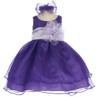 Baby Girls Purple Lilac Sash Organza Flower Girl Dress 6-24M