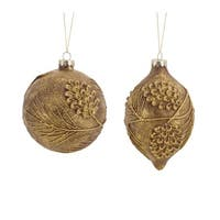Pack of 6 Distressed Bronze Pine Cone Glass Christmas Ornament Set - Brown