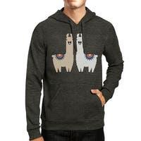 Llama Pattern Mens/Unisex Cool Grey Pullover Fleece Hoodie