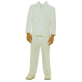 Boys Ivory Single Breasted Jacket Vest Shirt Tie Pants 5 Pc Suit