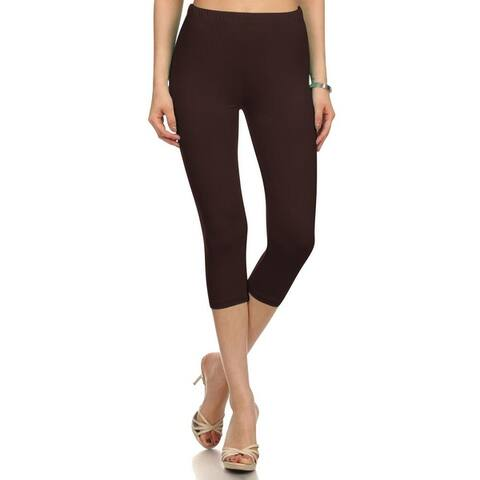 NioBe Clothing Womens High Waist Solid Microfiber Ultra Soft Capri Leggings (One Size)