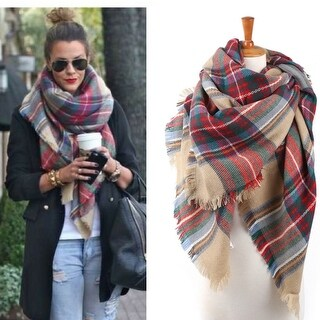 Oversized Soft Plaid Tartan Blanket Scarf