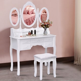 Costway White Tri Folding Oval Mirror Wood Vanity Makeup Table Set with Stool &7 Drawers bathroom