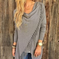Women  Sweater Tassel Hem Crew Neck Knited Sweater Coat Outwear