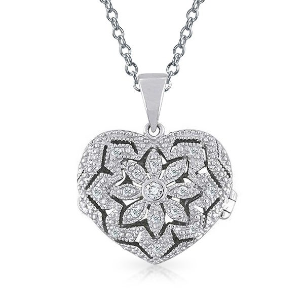 ab489571e3fc4 Vintage Style Heart Shape Floral Locket Pendant Filigree Cubic Zirconia CZ  Necklace for Women Sterling Silver 18in Chain