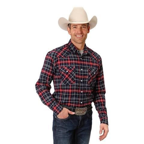 Roper Western Shirt Mens L/S Plaid Snap Red
