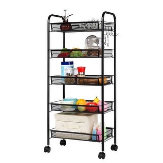 LANGRIA 5-Tier Metal Mesh Rolling Cart Storage Rack Shelf for Kitchen with 5 Hooks, Black