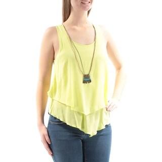 BCX $39 Womens New 2961 Yellow W/necklace Sleeveless Tiered Top M Juniors B+B