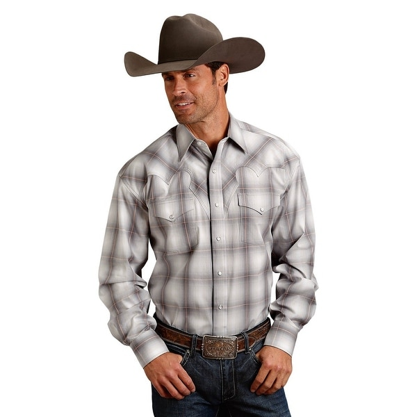 d6a5df4b19116 Shop Stetson Western Shirt Mens L S Plaid Snap Gray - Free Shipping Today -  Overstock - 28051130