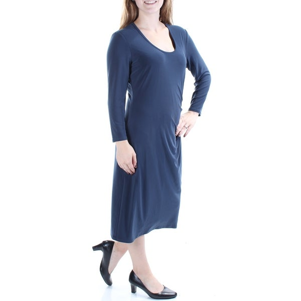 Shop ANNE KLEIN Womens Navy Long Sleeve Scoop Neck Midi Shift Dress Size   10 - Free Shipping On Orders Over  45 - Overstock - 21271424 d968e60a0
