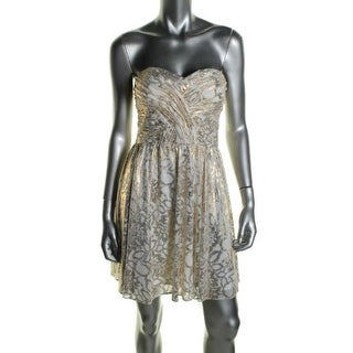 Hailey Logan Womens Juniors Cocktail Dress Metallic Prom - 5/6