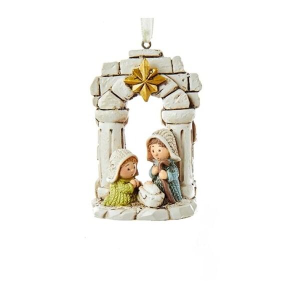 "3.25"" Nativity Holy Family Ornament - WHITE"