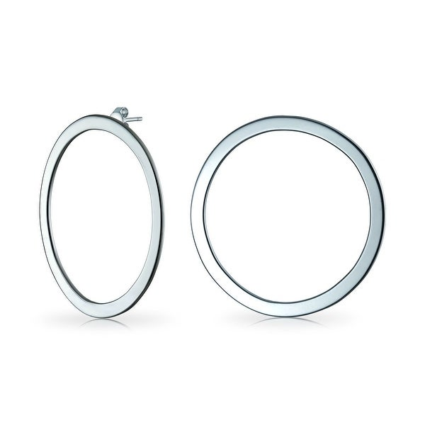 aef12e82a6512 Minimalist Geometric Round Flat Open Circle Stud Hoop Earrings For Women  For Teen 925 Sterling Silver 1.77 Inch Dia