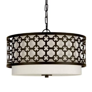 "Park Harbor PHHL6033 19"" Wide 3 Light Single Tier Drum Style Chandelier with Patterned Metal Frame"