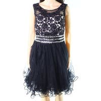 Fit Design Black Womens Size 8 Embroidered Tulle A-Line Dress