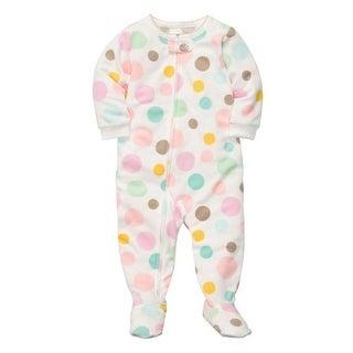 Carter's Little Girls' 1-piece Micro-fleece Pajamas 5T, Multi Dots - White