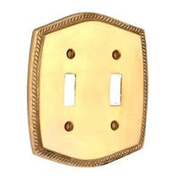 Switchplate Bright Solid Brass Double Toggle