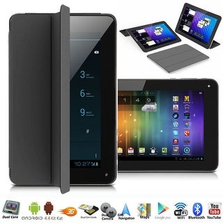"""Indigi® A76 Factory Unlocked 7.0"""" Dual-Core 2-in-1 SmartPhone+TabletPC w/ Android 4.4 KitKat DualSim WiFi + Smart Cover (Black)"""