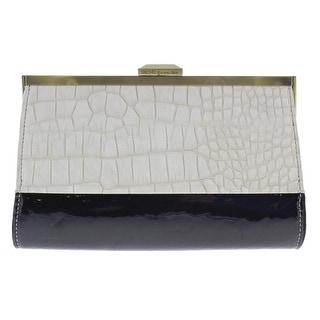 Rachel Roy Womens Embossed Framed Clutch Handbag - Black/White - Medium