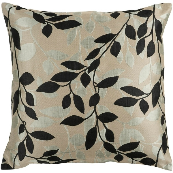 "22"" Ink Black and Silver Gray Decorative Throw Pillow – Down Filler"