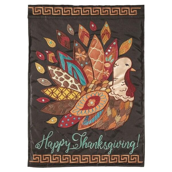 """Happy Thanksgiving Fashionable Turkey Garden Flag 13"""" x 18"""" - N/A"""