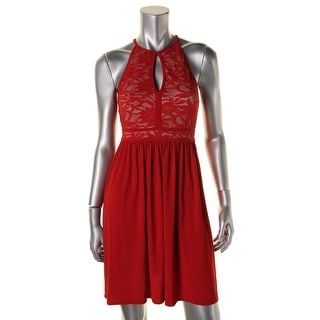 Morgan & Co. Womens Juniors Lace Overlay Halter Clubwear Dress