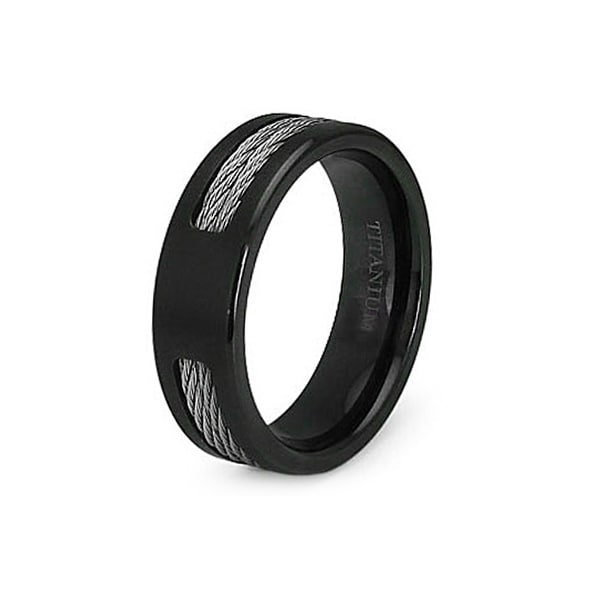 7.0mm Black Titanium Ring with Stainless Steel Cables (Sizes 7-12)