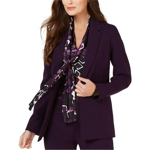 Nine West Womens Notch One Button Blazer Jacket