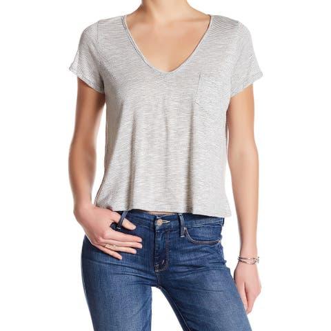 Lush NEW Black Womens Size Large L Striped V-Neck Short-Sleeve Knit Top 557