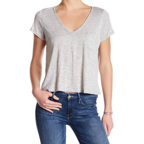 Lush NEW Black Womens Size Large L Striped V-Neck Short-Sleeve Knit Top 569