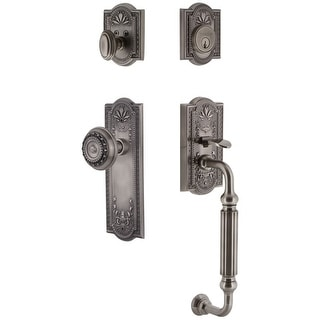 Grandeur PARPAR_ESET_238_FG  Parthenon Solid Brass Rose Single Cylinder Keyed Entry Sectional 'F' Grip Handleset with Parthenon