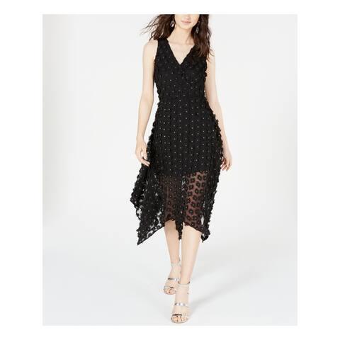 KENSIE Womens Black Sleeveless Midi Sheath Cocktail Dress Size 4