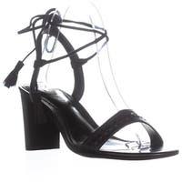 Lauren by Ralph Lauren Helaine Lace Up Tassel Sandals, Black - 8 us / 39 eu