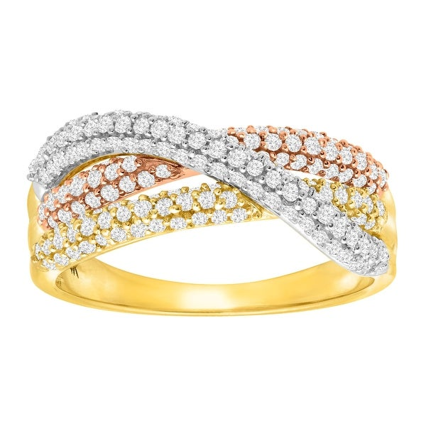 3/4 ct Diamond Three-Row Overlapping Band Ring in 14K Three-Tone Gold