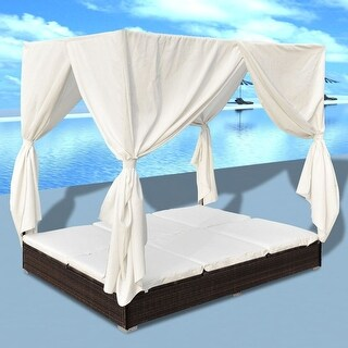 vidaXL Sun Lounger with Curtains Poly Rattan Brown