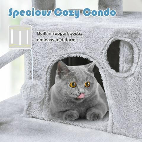 Gymax 66'' Cat Tree Condo Kitten Multi-Level Activity Center Plush Perches W/ Hammock
