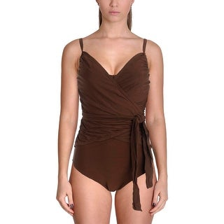 It Figures! Womens Wrapture Surplice Shaping One-Piece Swimsuit