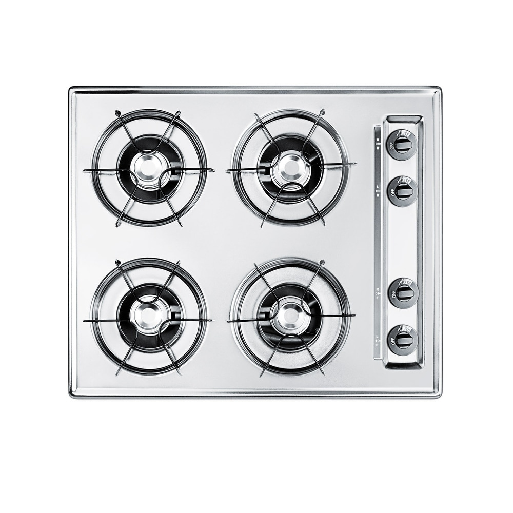 """Summit  NL03P  24"""" Wide 4 Burner Gas Cooktop with Battery Start Ignition (White)"""