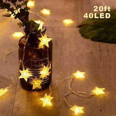 40 LED Star String Lights 20 FT Fairy Christmas Lights - Medium