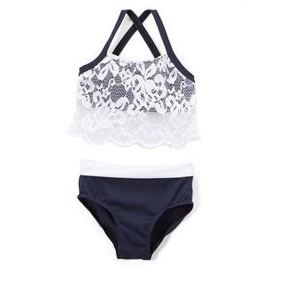 Elliewear Little Girls Navy White Lace Overlay Top Brief 2 Pc Dance Set
