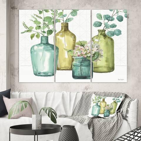 Designart 'Mixed Botanical Green Leaves VIII' Cottage Canvas Artwork