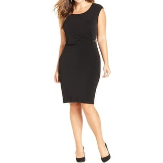 NY Collection Womens Plus Casual Dress Embellished Ruched