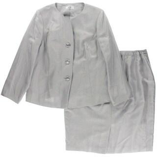 Le Suit Womens Plus Shimmer 2PC Skirt Suit - 14W