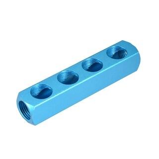 """1/2""""G Thread Pneumatic 7Port 4Way Air Hose Inline Manifold Block Splitter 2Pcs"""