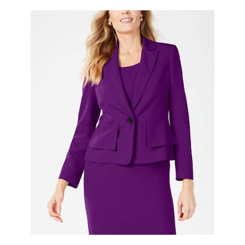 KASPER Womens Purple Blazer Wear to Work Jacket Size 14